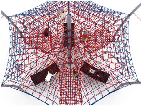 Virvinė piramidė su hamakais